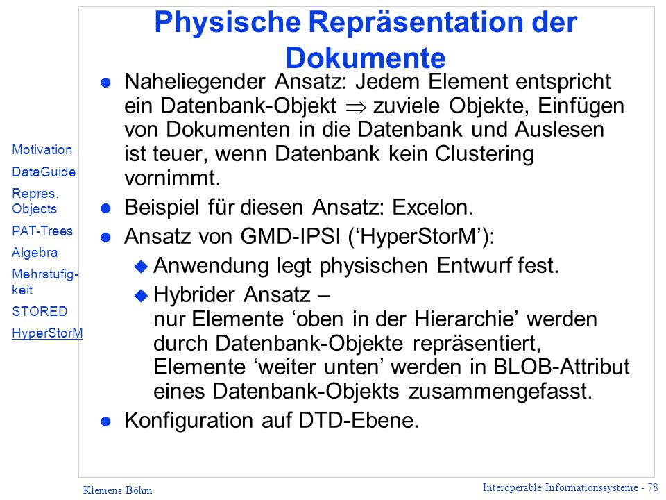 Physische Repräsentation der Dokumente