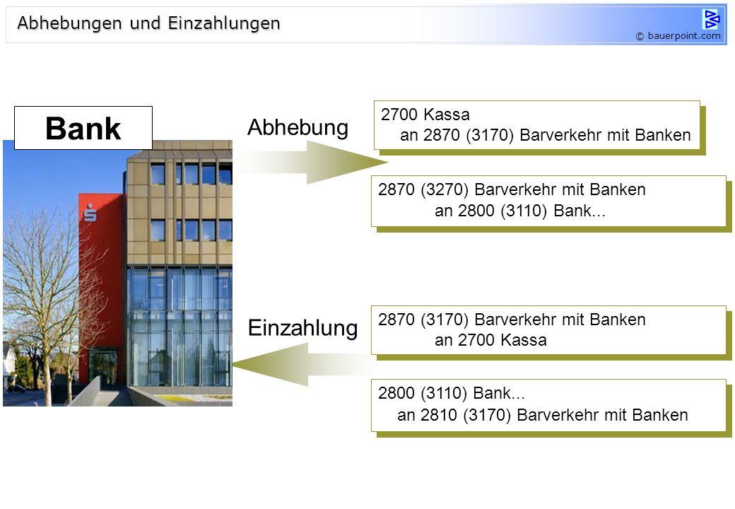 Bank Abhebung Einzahlung Abhebungen und Einzahlungen 2700 Kassa