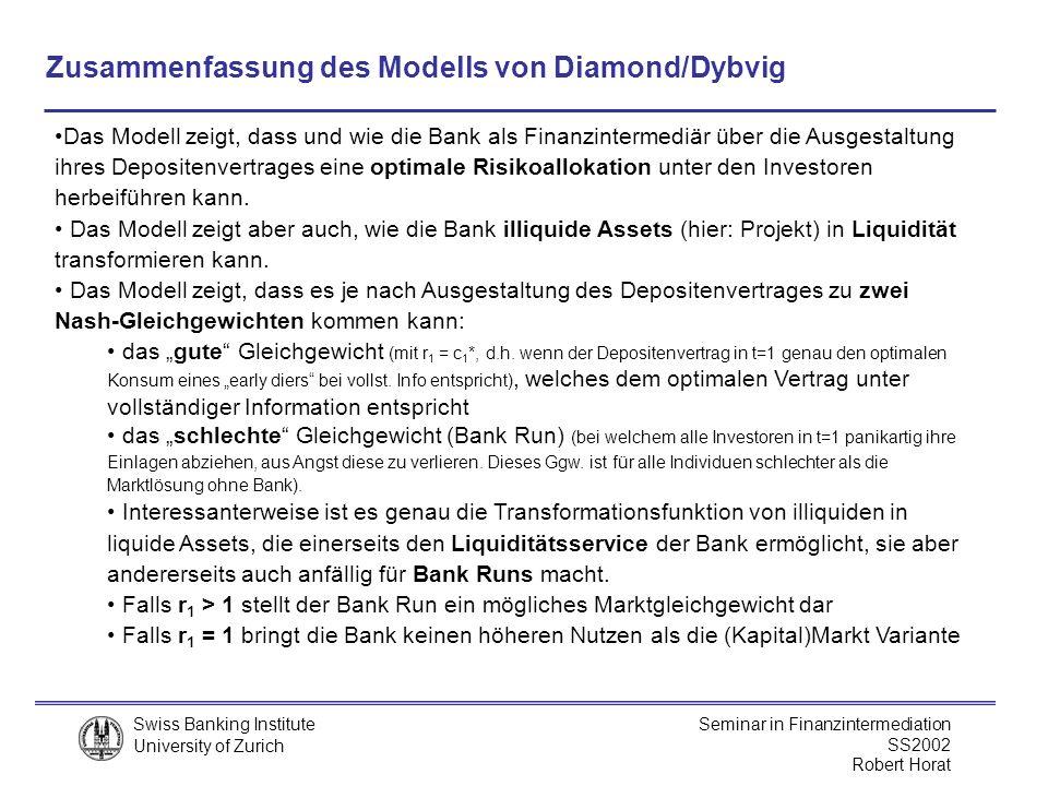 Zusammenfassung des Modells von Diamond/Dybvig
