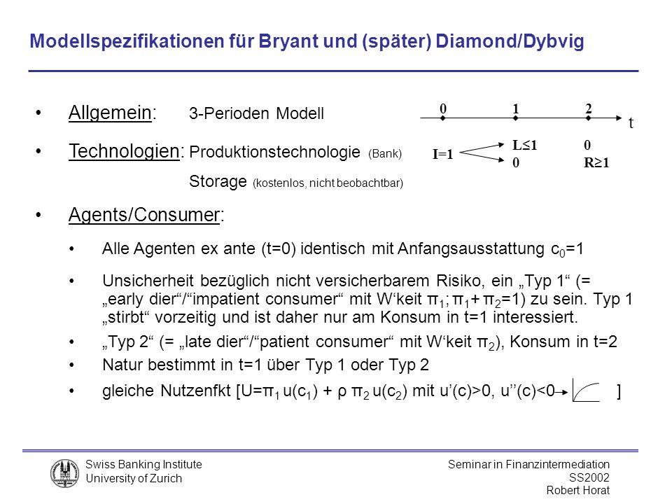 Modellspezifikationen für Bryant und (später) Diamond/Dybvig