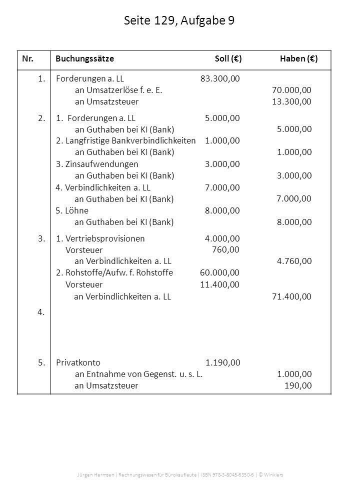 Seite 129, Aufgabe 9 Nr. Buchungssätze Soll (€) Haben (€) 1.
