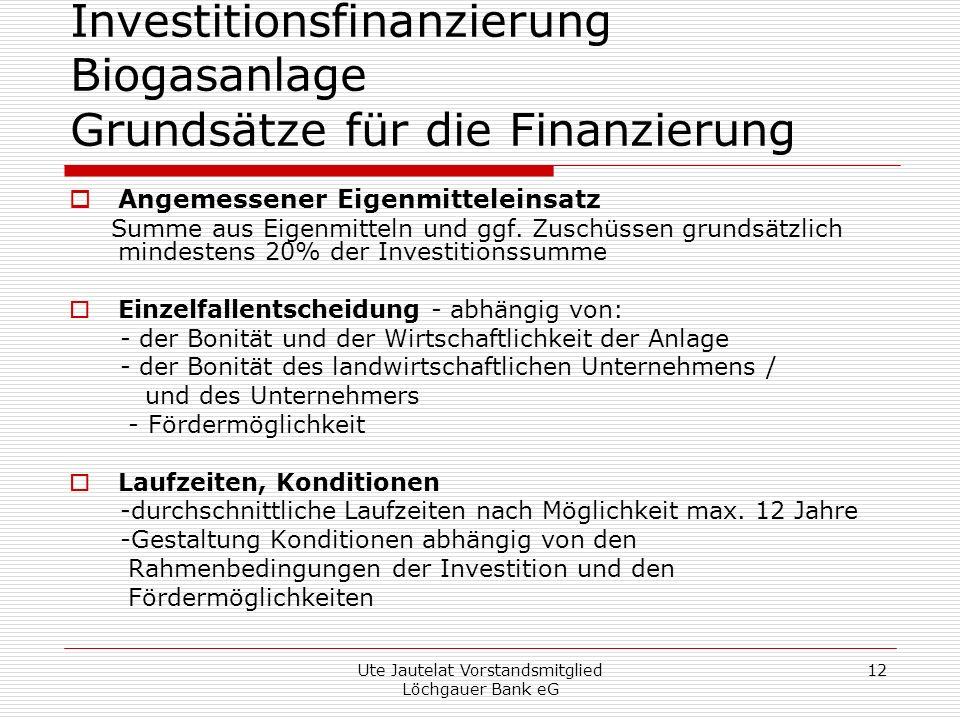 Investitionsfinanzierung Biogasanlage Grundsätze für die Finanzierung
