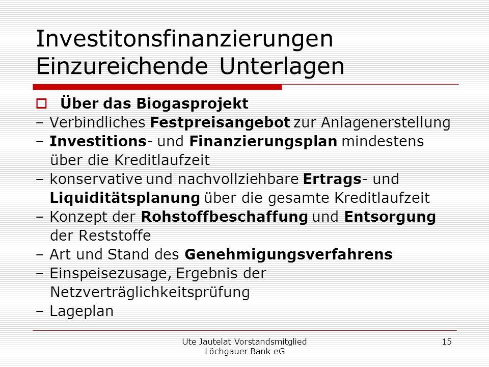 Investitonsfinanzierungen Einzureichende Unterlagen