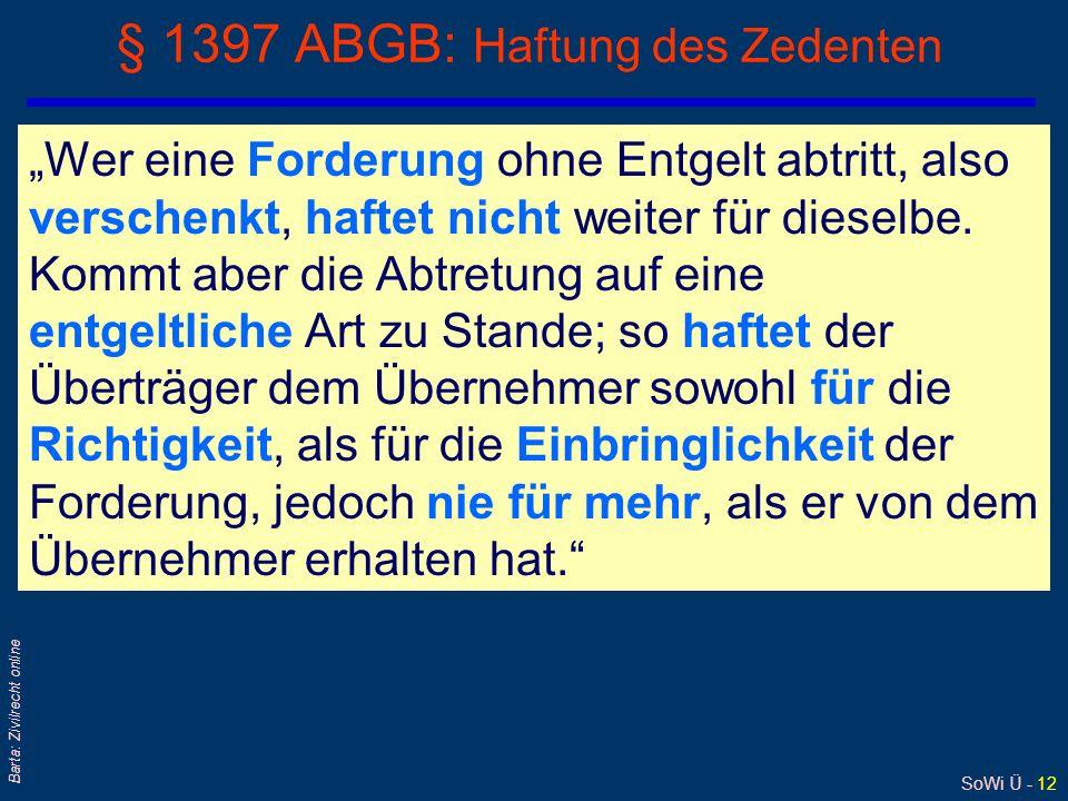 § 1397 ABGB: Haftung des Zedenten