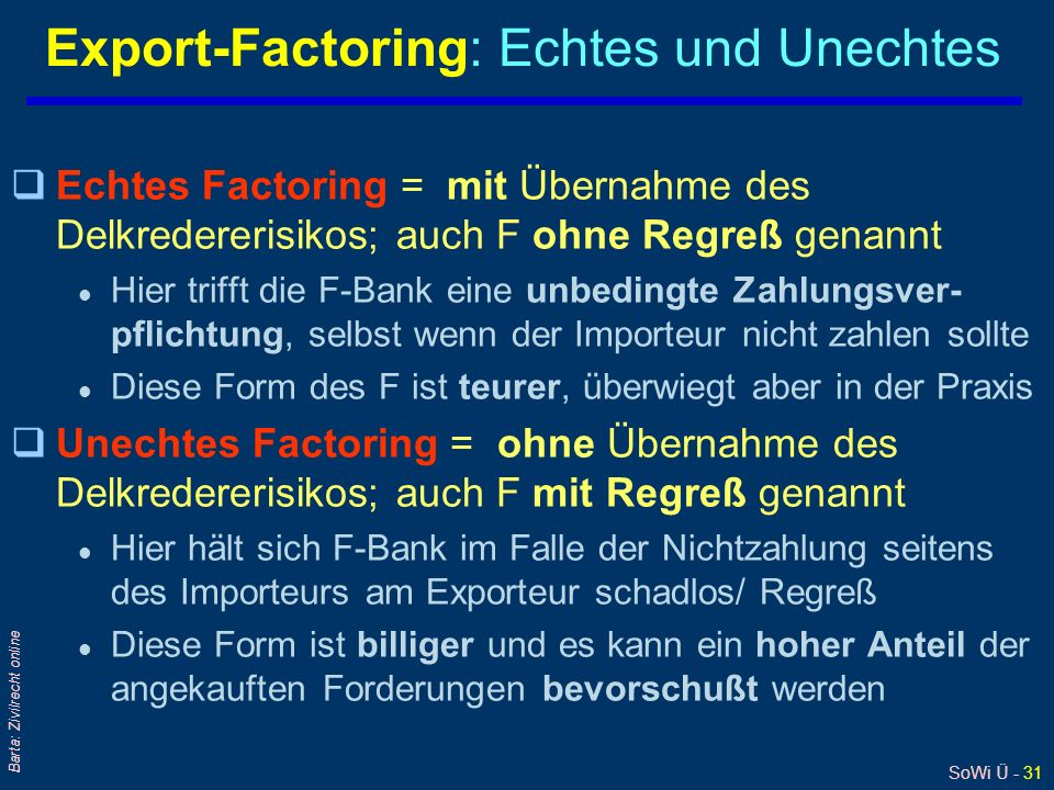 Export-Factoring: Echtes und Unechtes