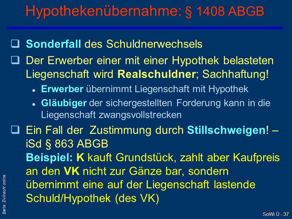 Hypothekenübernahme: § 1408 ABGB