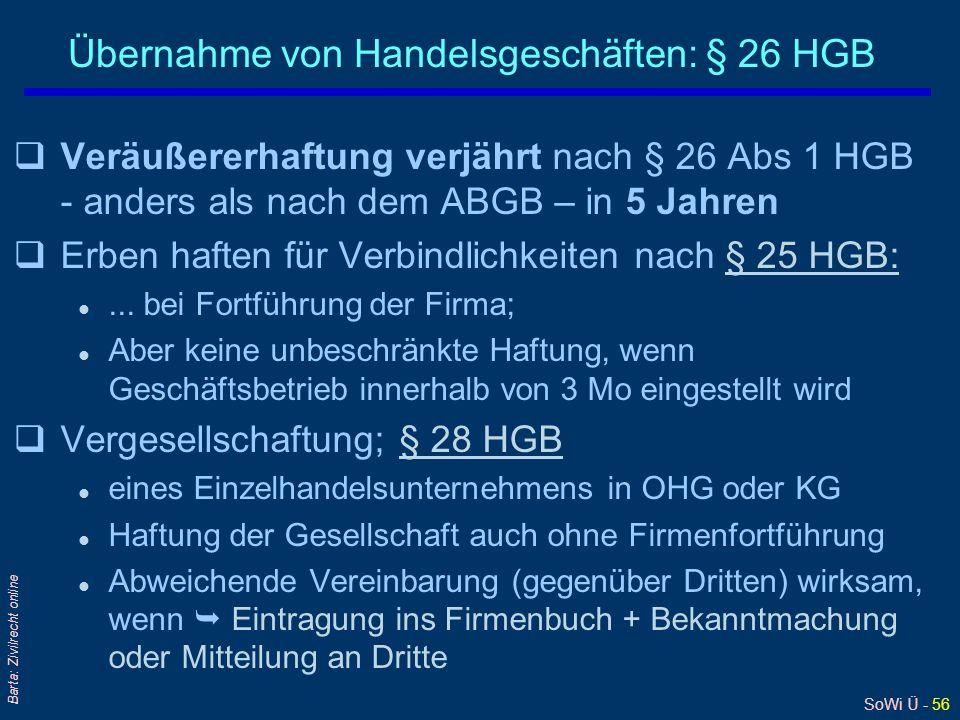 Übernahme von Handelsgeschäften: § 26 HGB