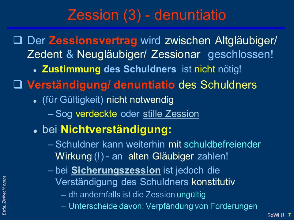 Zession (3) - denuntiatio