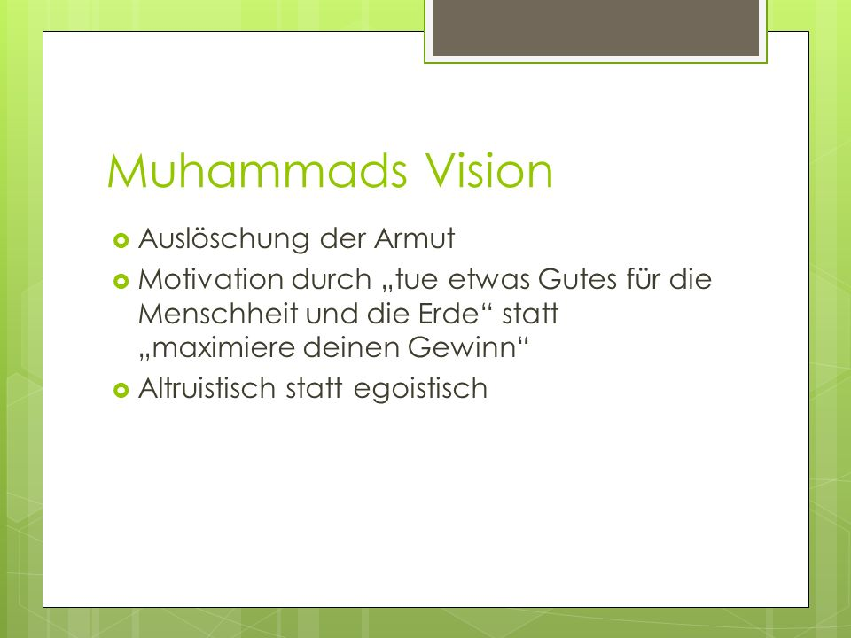 Muhammads Vision Auslöschung der Armut
