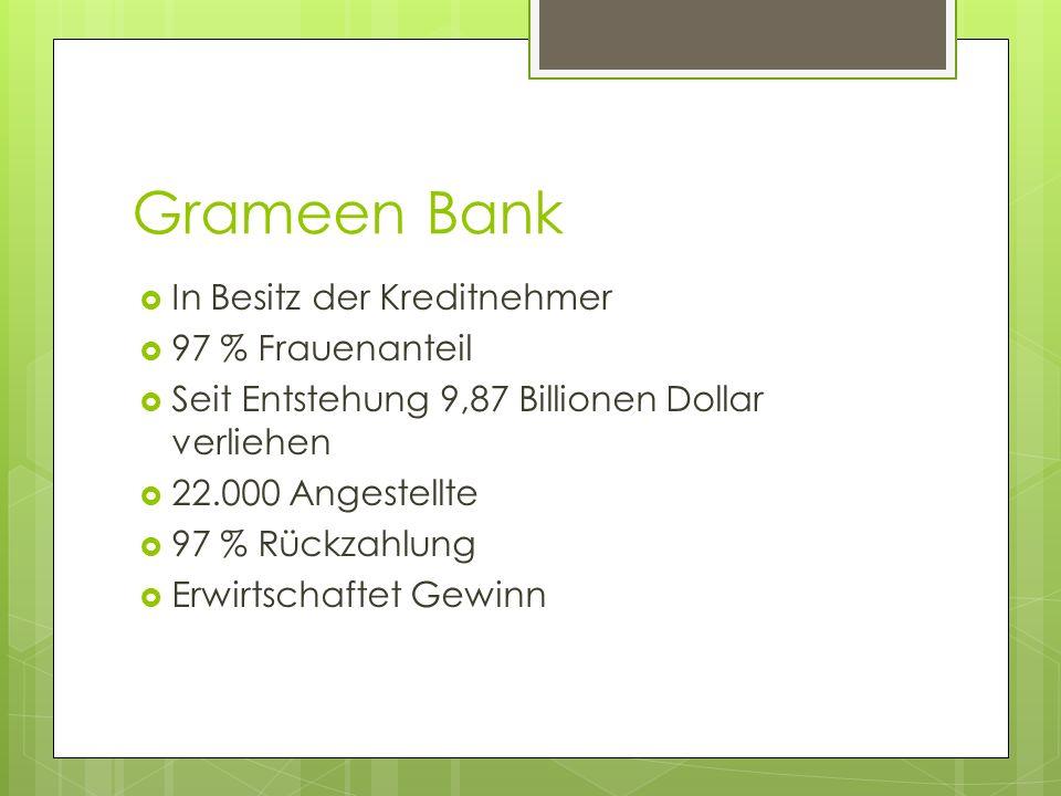 Grameen Bank In Besitz der Kreditnehmer 97 % Frauenanteil