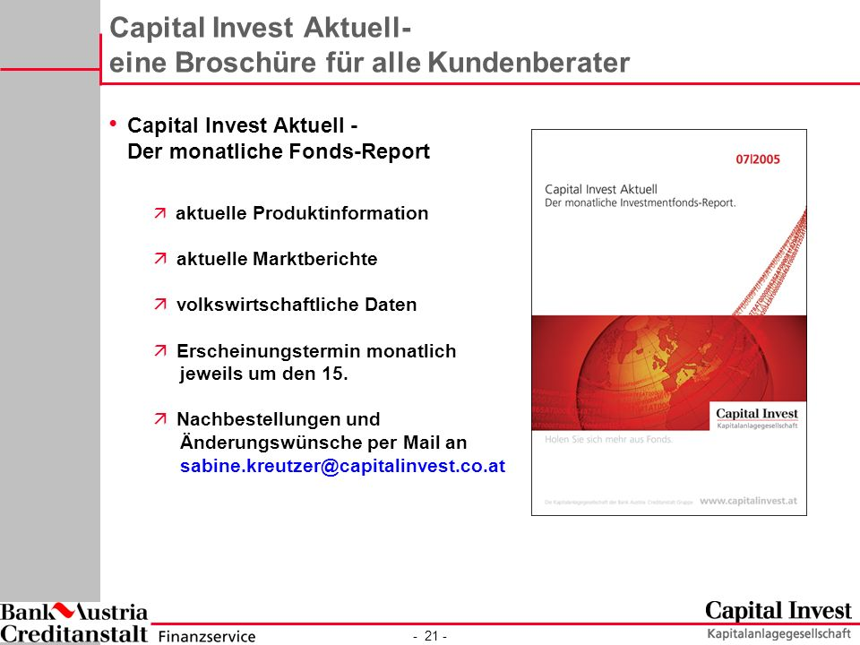 Capital Invest Aktuell- eine Broschüre für alle Kundenberater