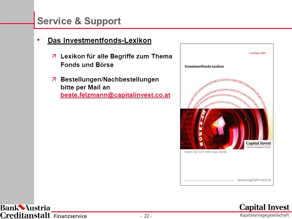 Service & Support Das Investmentfonds-Lexikon