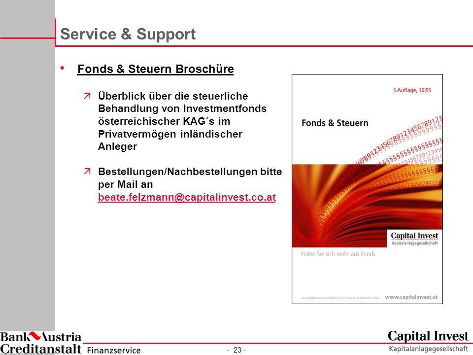 Service & Support Fonds & Steuern Broschüre
