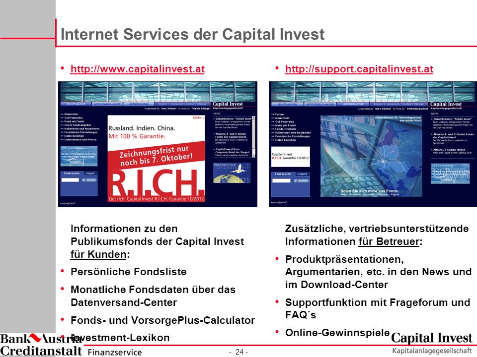 Internet Services der Capital Invest