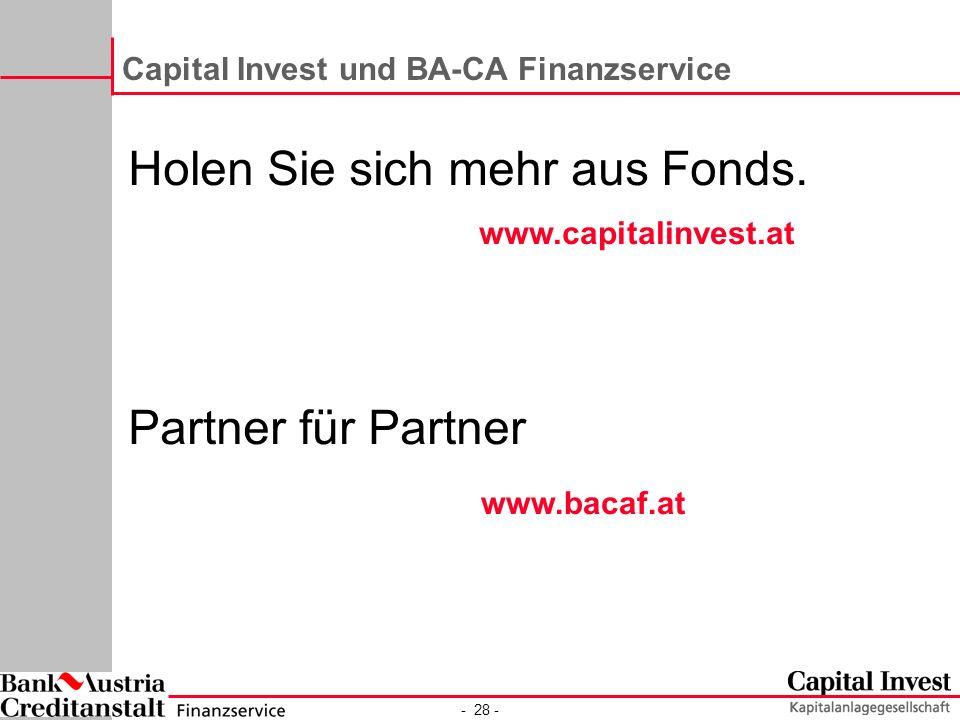 Capital Invest und BA-CA Finanzservice