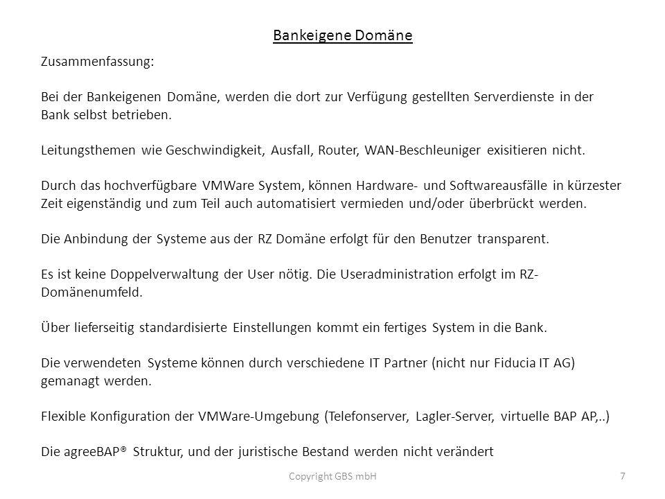 Bankeigene Domäne Zusammenfassung: