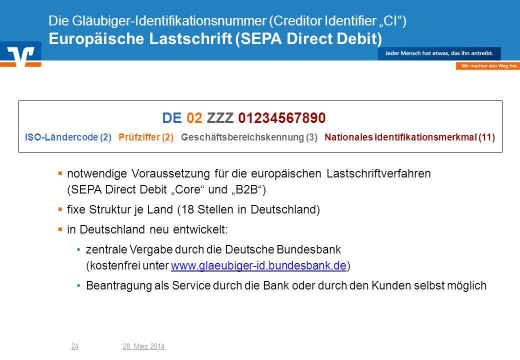 """Die Gläubiger-Identifikationsnummer (Creditor Identifier """"CI ) Europäische Lastschrift (SEPA Direct Debit)"""