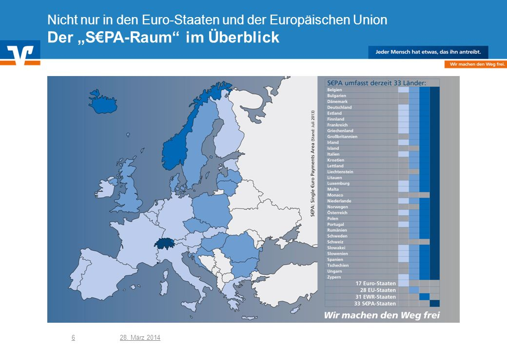 """Nicht nur in den Euro-Staaten und der Europäischen Union Der """"S€PA-Raum im Überblick"""