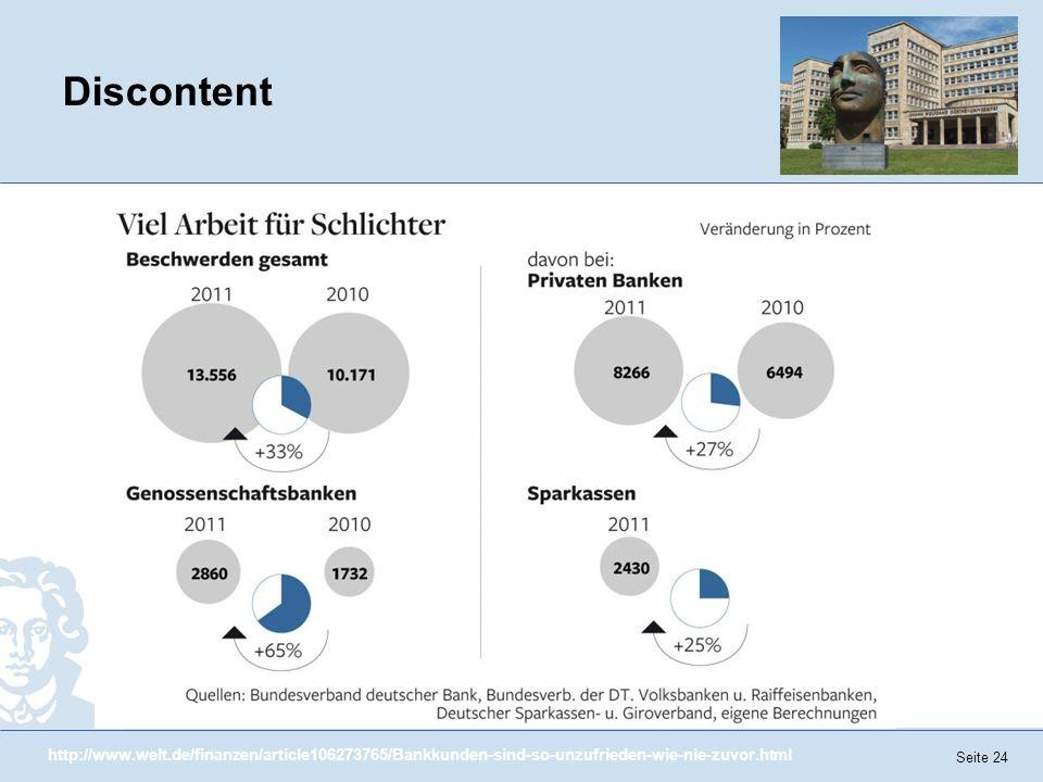 Discontent http://www.welt.de/finanzen/article106273765/Bankkunden-sind-so-unzufrieden-wie-nie-zuvor.html.