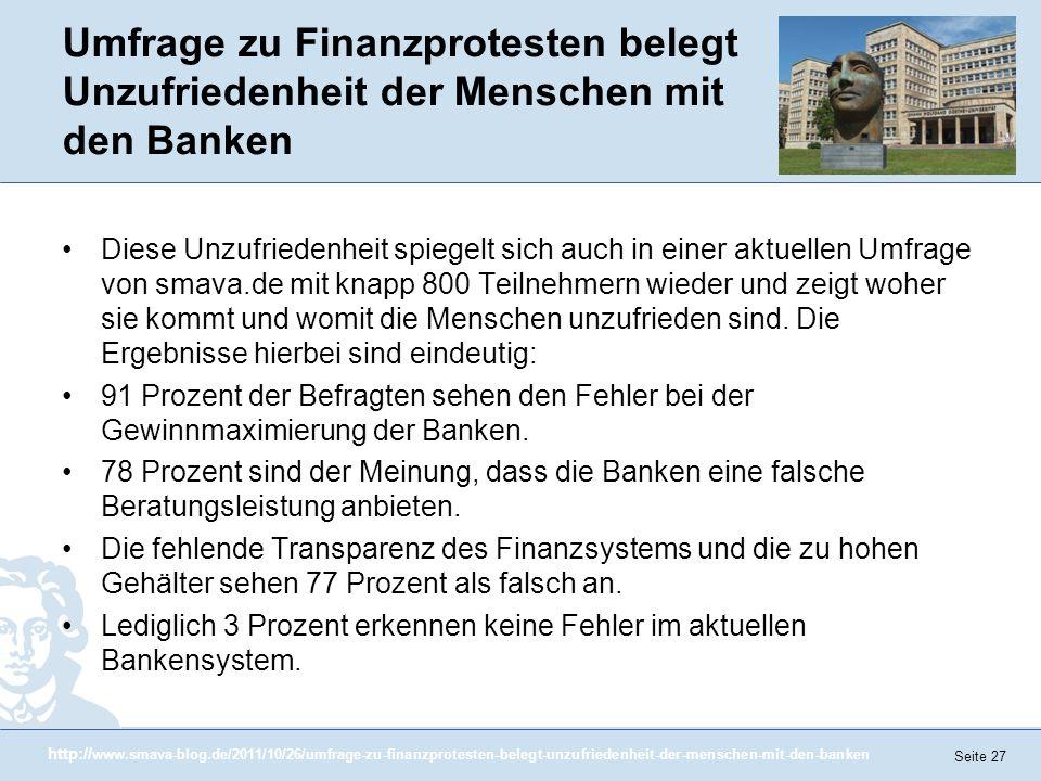 Umfrage zu Finanzprotesten belegt Unzufriedenheit der Menschen mit den Banken