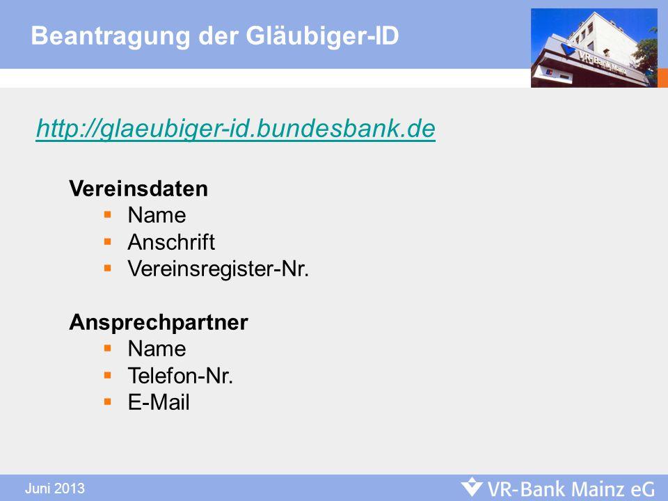 Beantragung der Gläubiger-ID