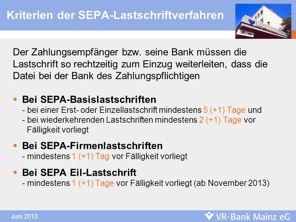 Kriterien der SEPA-Lastschriftverfahren