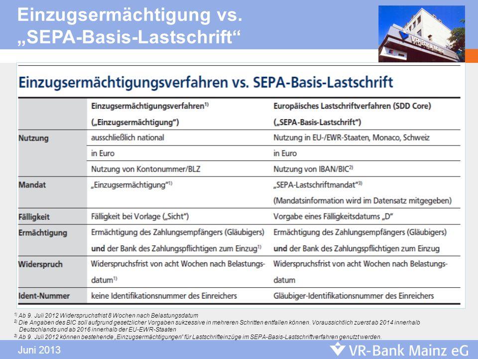 """Einzugsermächtigung vs. """"SEPA-Basis-Lastschrift"""