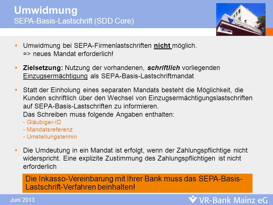 Umwidmung SEPA-Basis-Lastschrift (SDD Core)