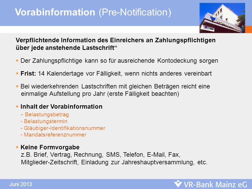 Vorabinformation (Pre-Notification)