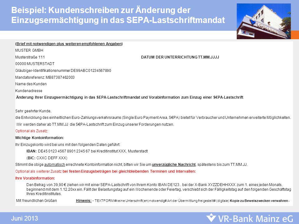 Beispiel: Kundenschreiben zur Änderung der Einzugsermächtigung in das SEPA-Lastschriftmandat