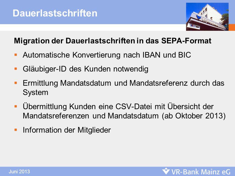 Dauerlastschriften Migration der Dauerlastschriften in das SEPA-Format