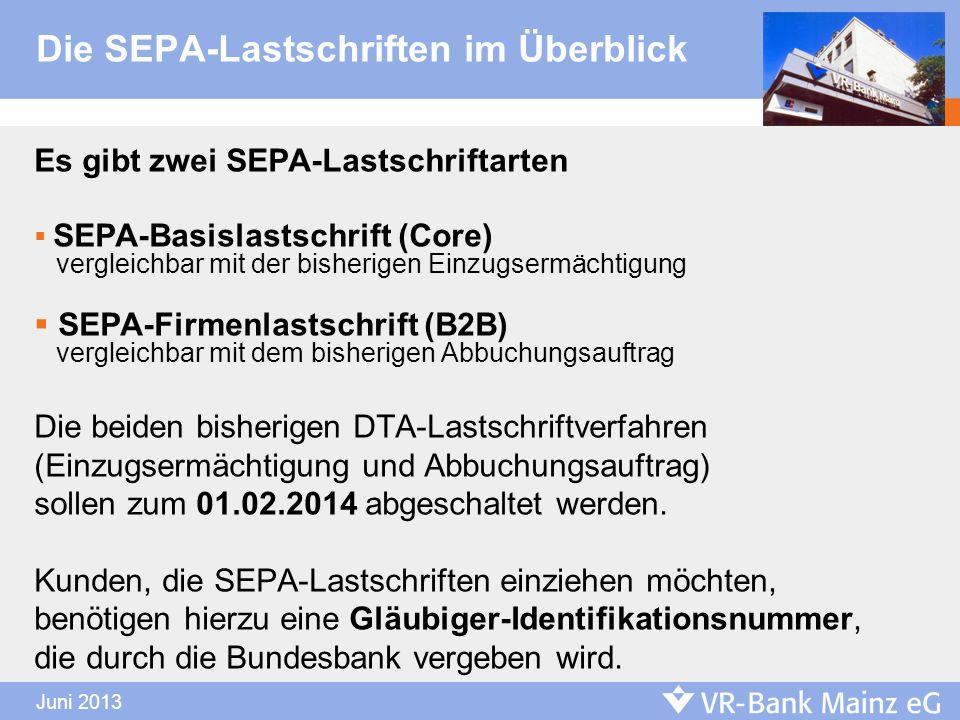 Die SEPA-Lastschriften im Überblick