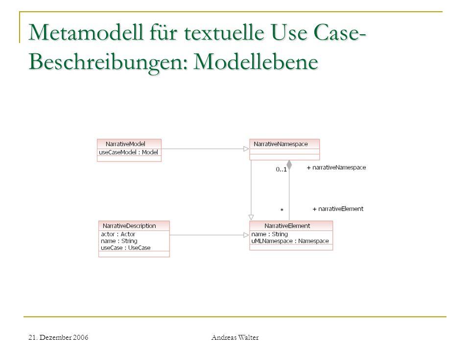 Metamodell für textuelle Use Case-Beschreibungen: Modellebene