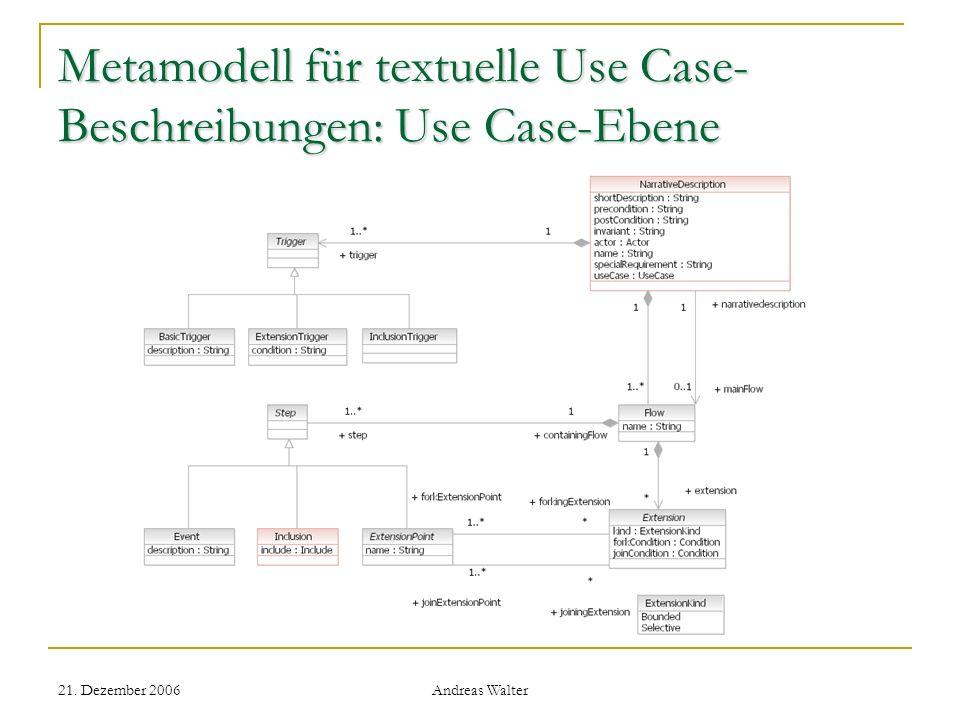 Metamodell für textuelle Use Case-Beschreibungen: Use Case-Ebene