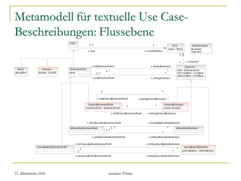 Metamodell für textuelle Use Case-Beschreibungen: Flussebene
