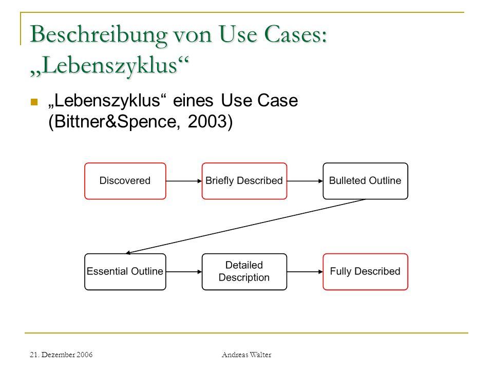 """Beschreibung von Use Cases: """"Lebenszyklus"""