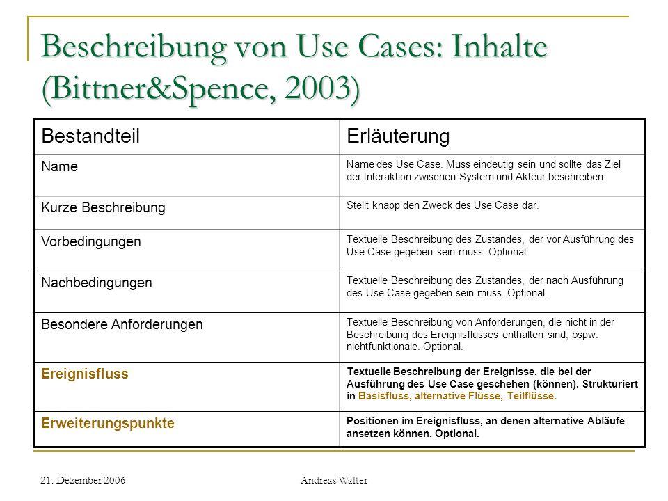 Beschreibung von Use Cases: Inhalte (Bittner&Spence, 2003)