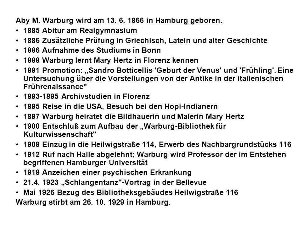 Aby M. Warburg wird am 13. 6. 1866 in Hamburg geboren.