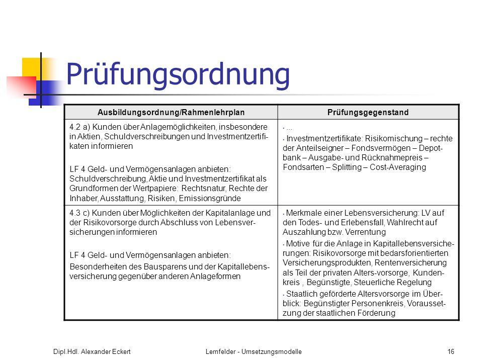 Ausbildungsordnung/Rahmenlehrplan