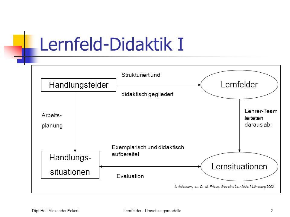 Lernfelder - Umsetzungsmodelle