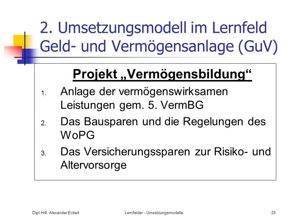 2. Umsetzungsmodell im Lernfeld Geld- und Vermögensanlage (GuV)