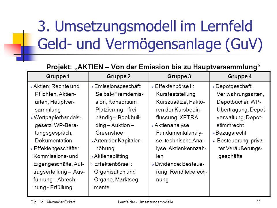 3. Umsetzungsmodell im Lernfeld Geld- und Vermögensanlage (GuV)