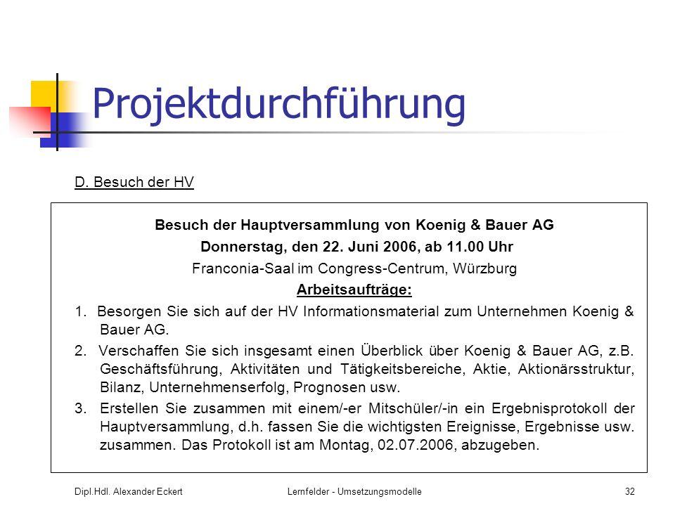 Besuch der Hauptversammlung von Koenig & Bauer AG
