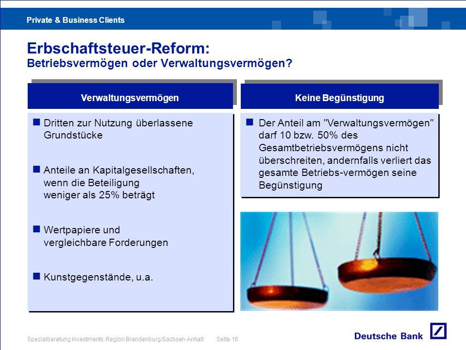 Erbschaftsteuer-Reform: Betriebsvermögen oder Verwaltungsvermögen