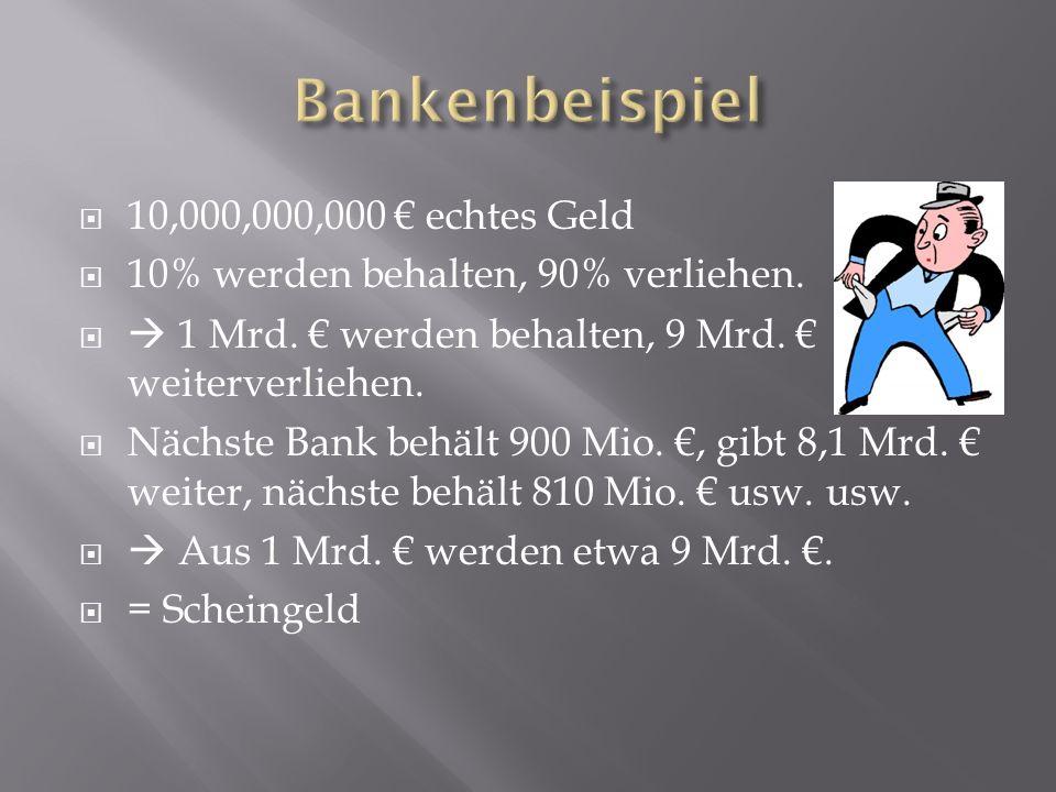 Bankenbeispiel 10,000,000,000 € echtes Geld