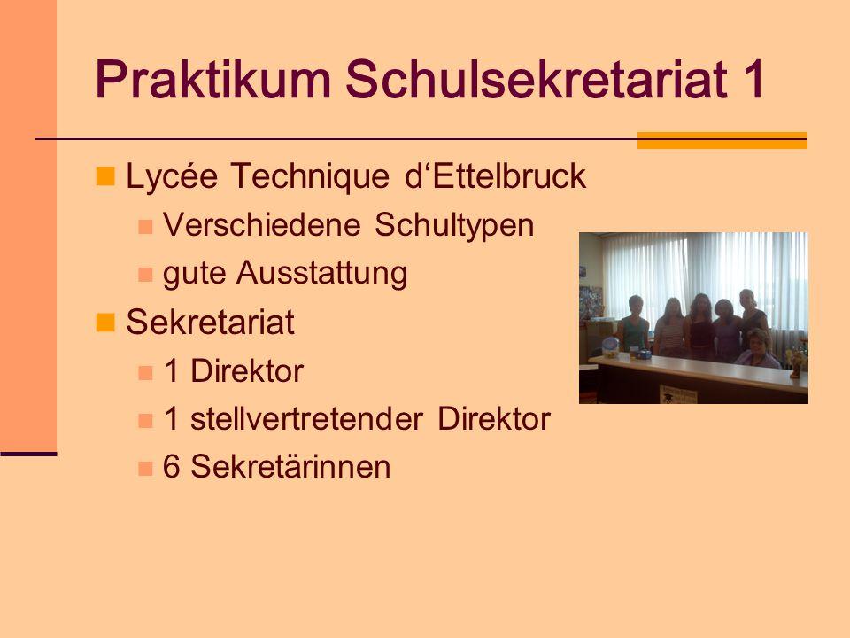 Praktikum Schulsekretariat 1