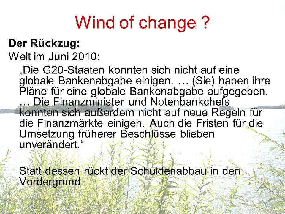 Wind of change Der Rückzug: Welt im Juni 2010: