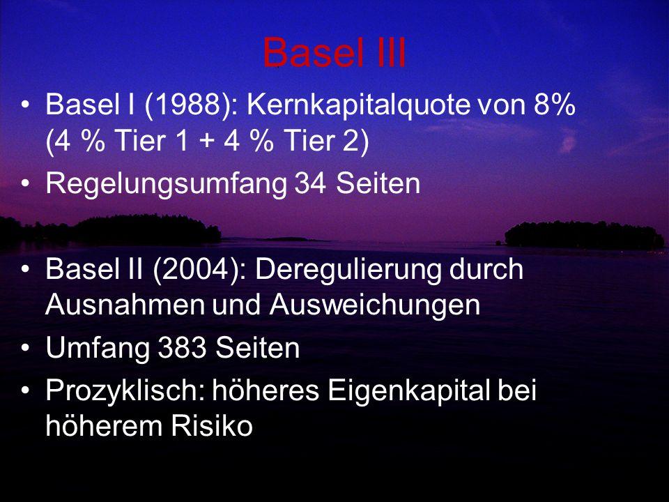 Basel III Basel I (1988): Kernkapitalquote von 8% (4 % Tier 1 + 4 % Tier 2) Regelungsumfang 34 Seiten.