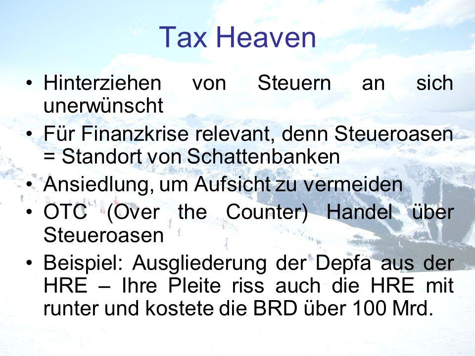 Tax Heaven Hinterziehen von Steuern an sich unerwünscht