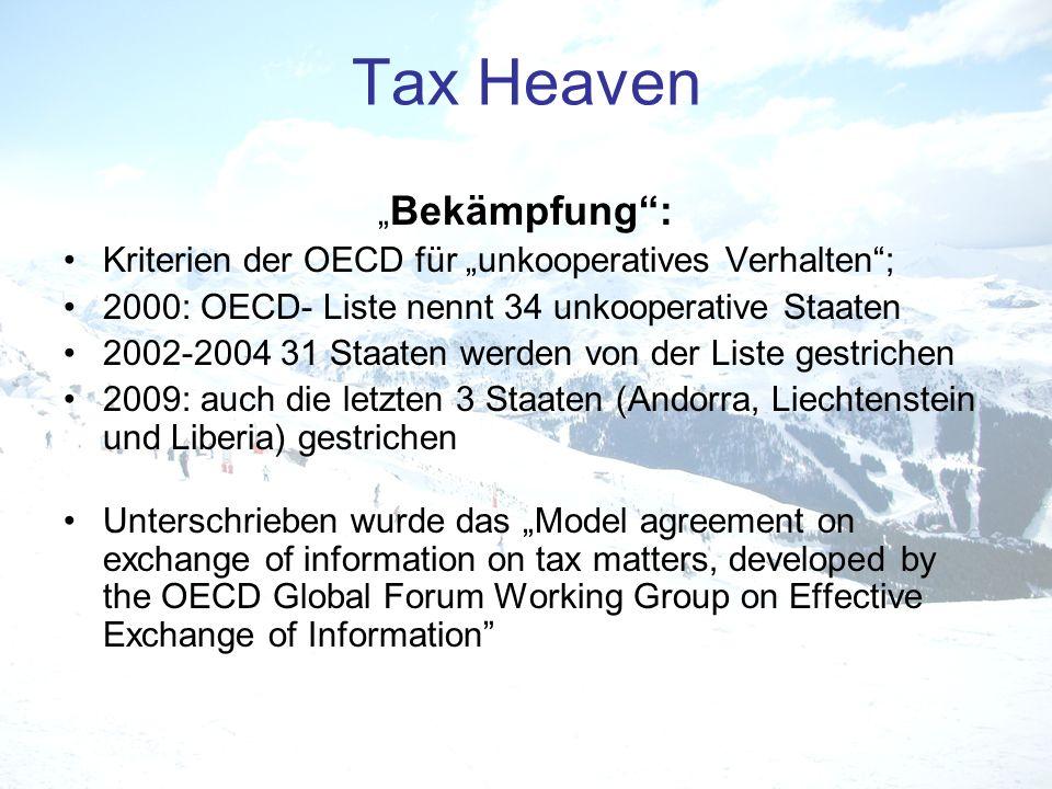 """Tax Heaven """"Bekämpfung :"""